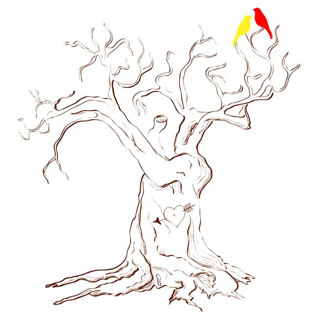 Шаблон свадебного дерева с птичками