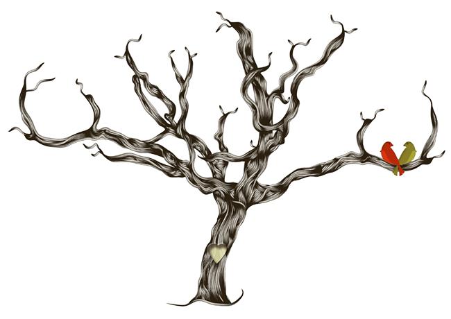 Широкоформатный шаблон свадебного дерева